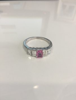 18ct White Gold Pink Sapphire and Diamond Dress Ring