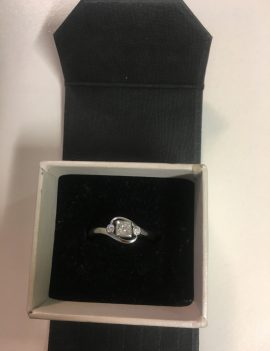 Handmade 9ct White Gold and diamond Engagement ring