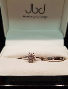18ct White Gold Solitaire Engagement Ring 3.2gm & 18ct White Gold Wedding Band