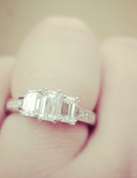 3 Emerald Cut Trilogy, Platinum Diamond Engagement Ring