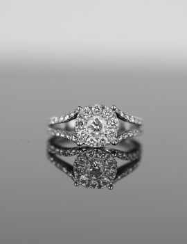 $4200 Round Cluster Style Diamond Engagement Ring