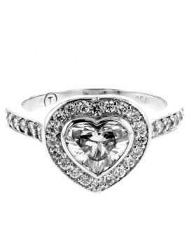Beautiful 18ct White Gold Heart Shaped 1.08ct Diamond Engagement Ring with Wedding Bands