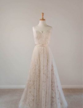Lillian Morgan, champagne and ivory, lace and tulle wedding gown