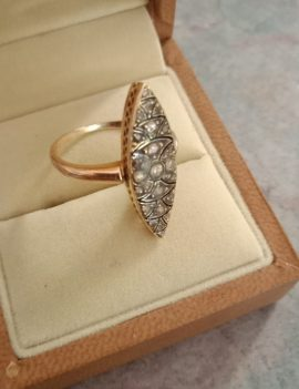 Diamond Rose Gold Vintage Victorian Ring