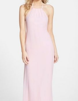 Pink Jordan Amsale bridesmaid halter dress