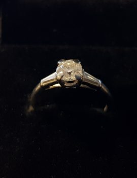 Platinum Antique Design .71ct diamond w/ 2 baguettes ring