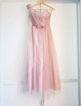 Bridesmaid/Maid of Honour Dusty Pink Tulle Overlay Maxi Dress