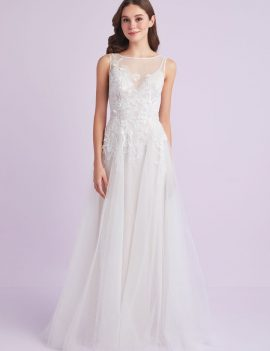 Embroidered Floral Tulle A-Line Wedding Dress by Oleg Cassini